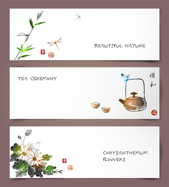 chinese painting styles banner vectors