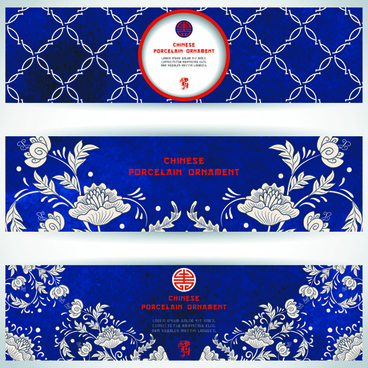 chinese porcelain ornament banner vector