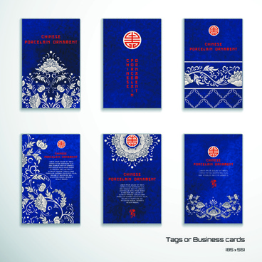 chinese porcelain ornament cards vector