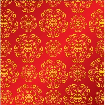 chinese pattern red yellow elegant repeating classic decor