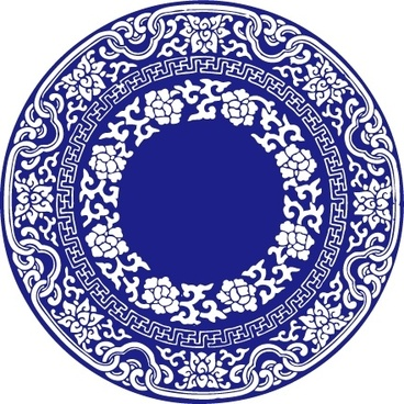 chinese style blue and white clip art