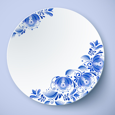 chinese style blue and white porcelain vector