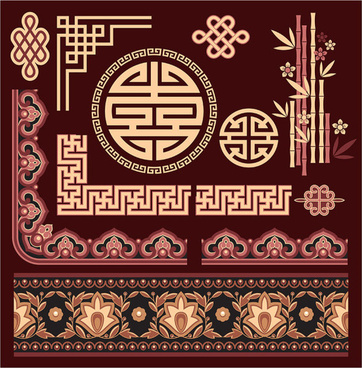 chinese style floral decorative elements