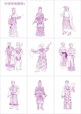 chinese traditional clothing vector 3