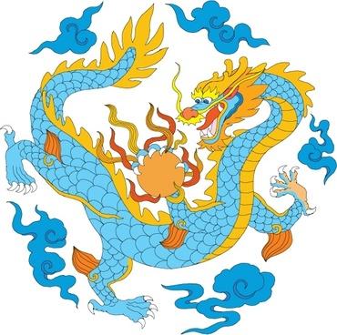 oriental dragon painting multicolored classical design