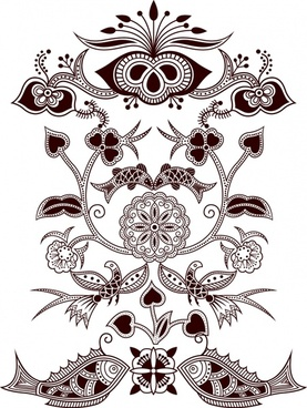 traditional pattern template flower fish decor classical flat sketch