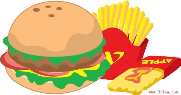 chips hamburgers vector