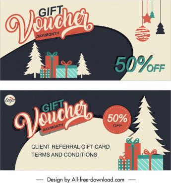 chirstmas gift voucher templates elegant flat classical design