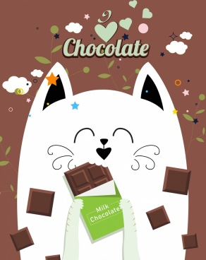 chocolate advertisement cute cat icon heart leaf decor
