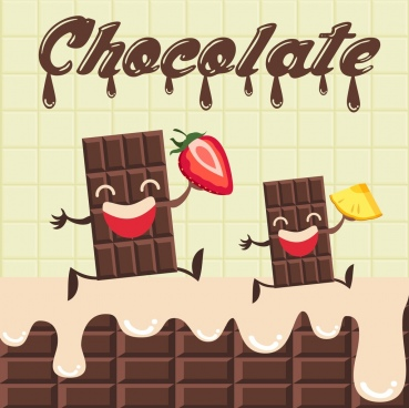chocolate advertisement funny stylized design melting decoration