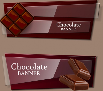 chocolate advertising banner set shiny brown design