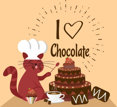 chocolate background cute cat cream cake icons decoration