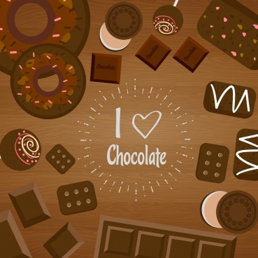 chocolate background various brown candies decoration