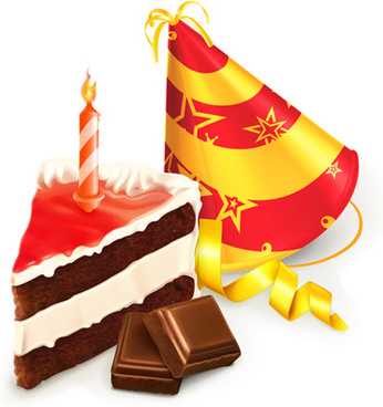 chocolate cake and birthday candles vector