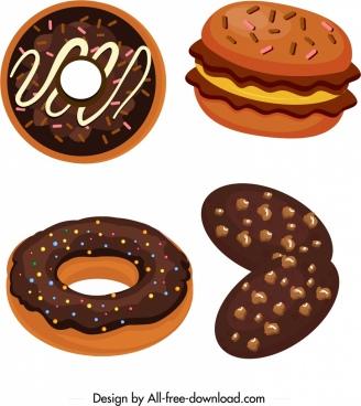 chocolate cakes icons colored classical design
