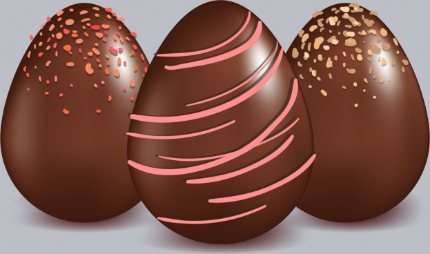 chocolate candies icons shiny brown egg shapes design