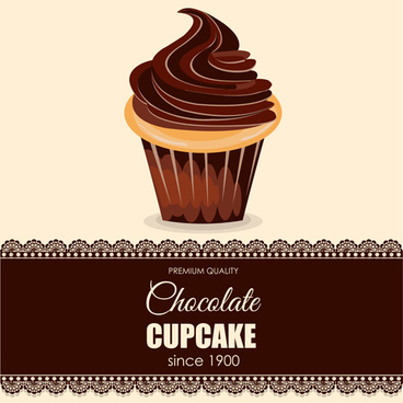chocolate cupcake background with lace vector