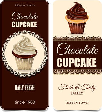 chocolate cupcake lace cards vectors