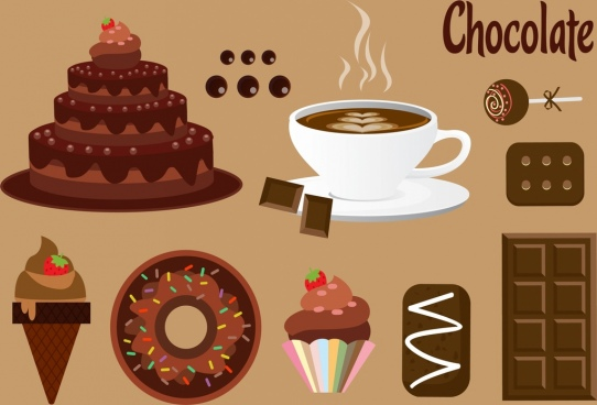 chocolate design elements various delicious food icons