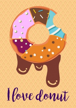 chocolate donut advertising melting bitten icon colorful flat