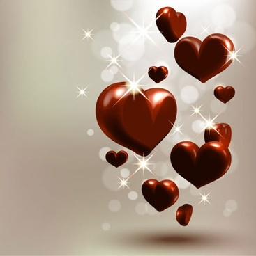 valentine background sparkling bokeh light 3d heart chocolates