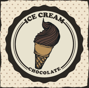 chocolate ice cream vintage cards vectors set