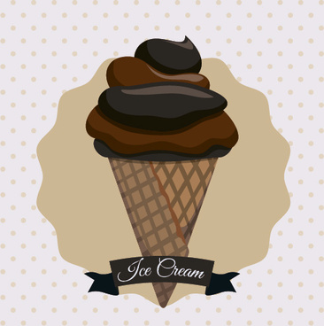 chocolate ice cream vintage cards vectors set
