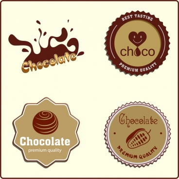 chocolate logotypes brown decor liquid serrated circles design