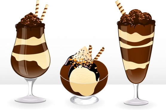 chocolate ice cream icons modern shiny colored design