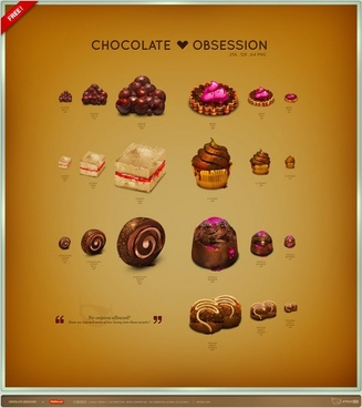 Chocolate Obsession Icon Set icons pack