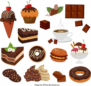 chocolate products design elements cakes cream coffee icons