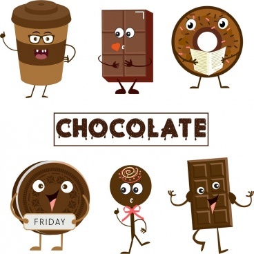 chocolate products icons cute stylized design