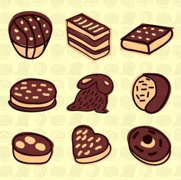 chocolate products icons various brown hand drawn types
