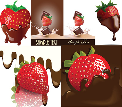 chocolate strawberry vector