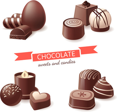 chocolate sweet and candies vector illustration