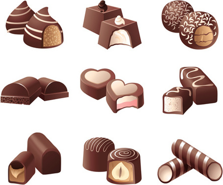 chocolate sweets icons vector set