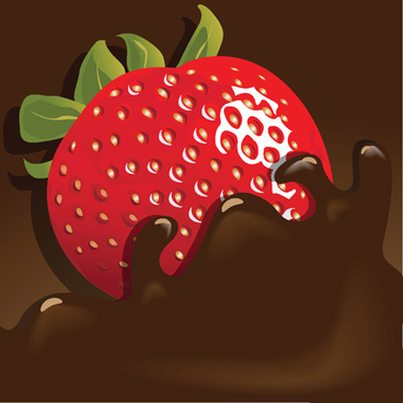 chocolate with strawberry shiny vector