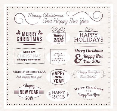 christmas and15 new year calligraphic labels vector
