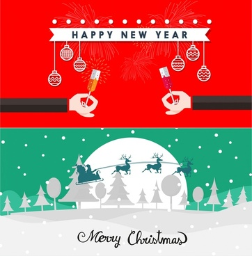 christmas and new year banners with classical design