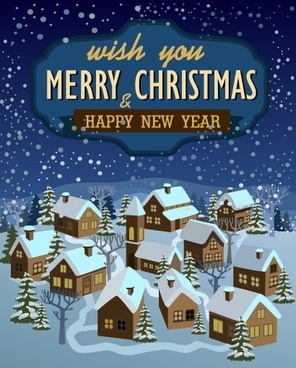 christmas and new year town background vector