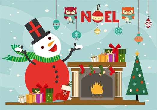 christmas backgrop template snowman and symbols collection design