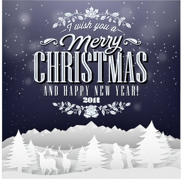 christmas background and creative christmas paper cut vector