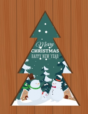 christmas background arrow fir tree snowman icons