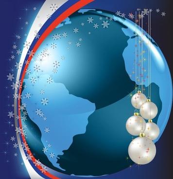 christmas background ball earth vector