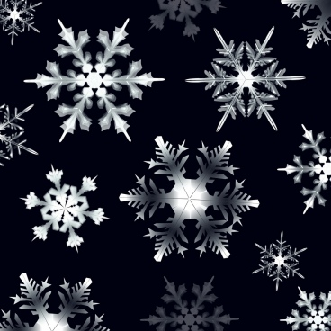 christmas background black white design shiny snowflakes icons