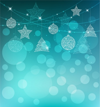christmas background blue bokeh sparkling bauble icons