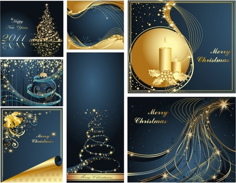 christmas banner templates sparkling golden dynamic decor