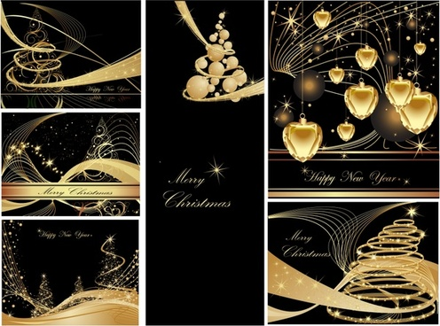 christmas background templates twinkling elegant dynamic golden decor