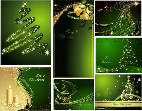 christmas background templates sparkling elegant green golden decor