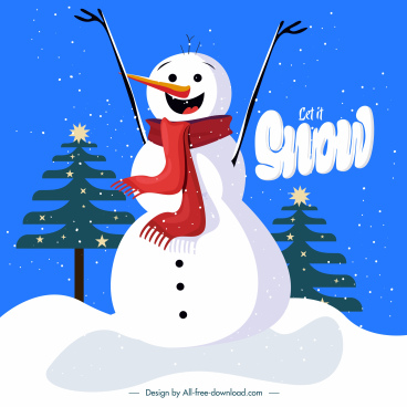 christmas background cute stylized snowman sketch